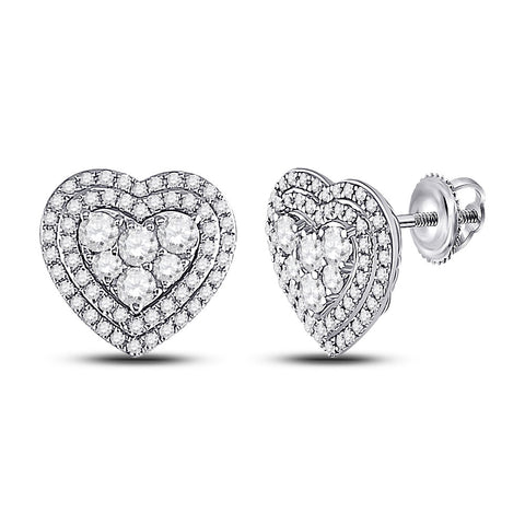 14kt White Gold Womens Round Diamond Heart Earrings 1 Cttw