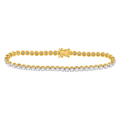 14kt Yellow Gold Womens Round Diamond Classic Tennis Bracelet 2 Cttw
