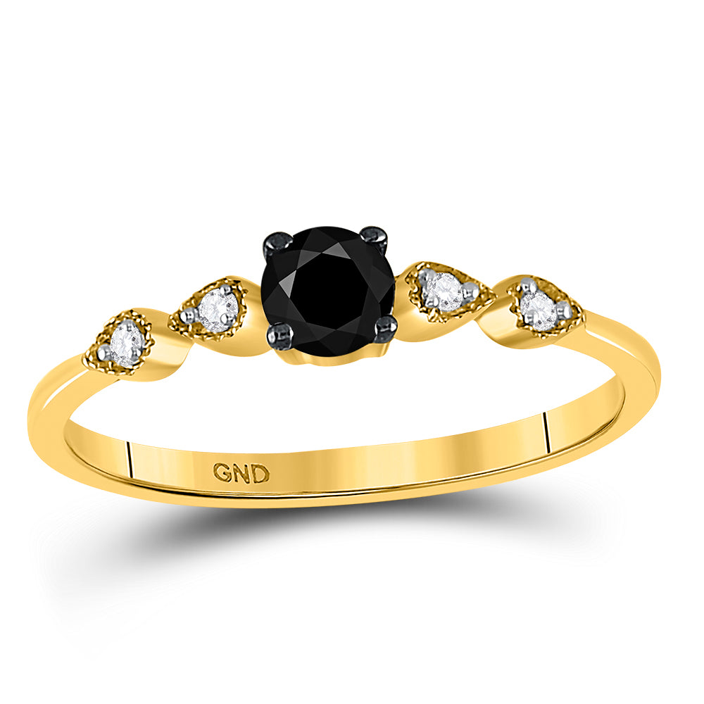 10kt Yellow Gold Round Black Color Enhanced Diamond Solitaire Bridal Wedding Ring 1/3 Cttw