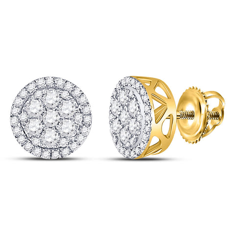 10kt Yellow Gold Womens Round Diamond Flower Cluster Earrings 1/2 Cttw