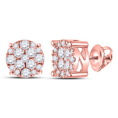 10kt Rose Gold Womens Round Diamond Fashion Cluster Earrings 1/4 Cttw