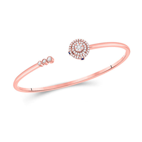 14kt Rose Gold Womens Round Diamond Statement Bisected Bangle Bracelet 1/2 Cttw