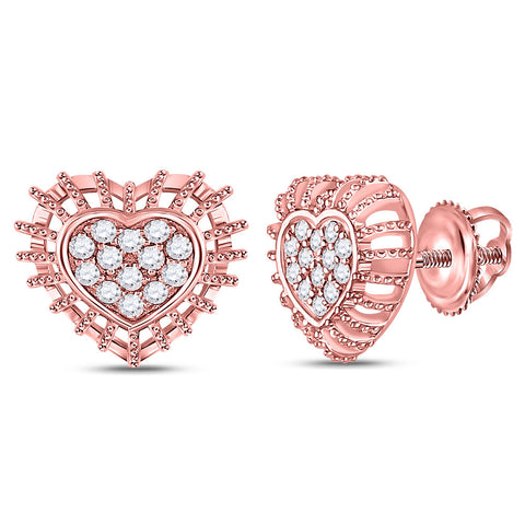 10kt Rose Gold Womens Round Diamond Heart Earrings 1/4 Cttw