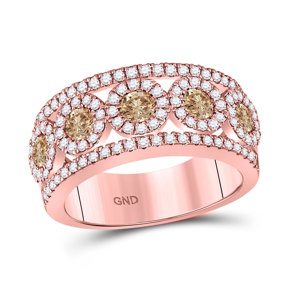 14kt Rose Gold Womens Round Brown Diamond Band Ring 1-3/8 Cttw
