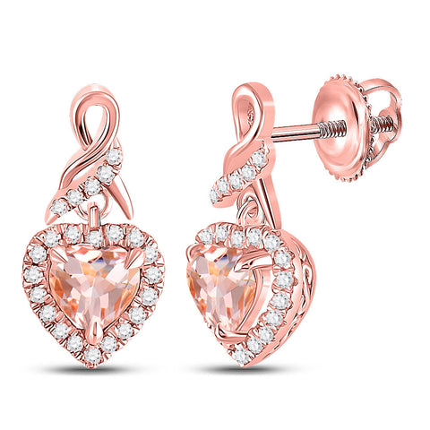 10kt Rose Gold Womens Heart Morganite Diamond Dangle Earrings 7/8 Cttw
