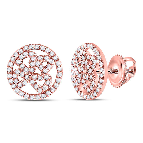 10kt Rose Gold Womens Round Diamond Heart Circle Earrings 1/2 Cttw