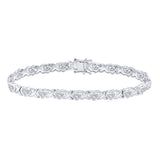 Sterling Silver Womens Round Diamond Heart Tennis Bracelet 1/4 Cttw