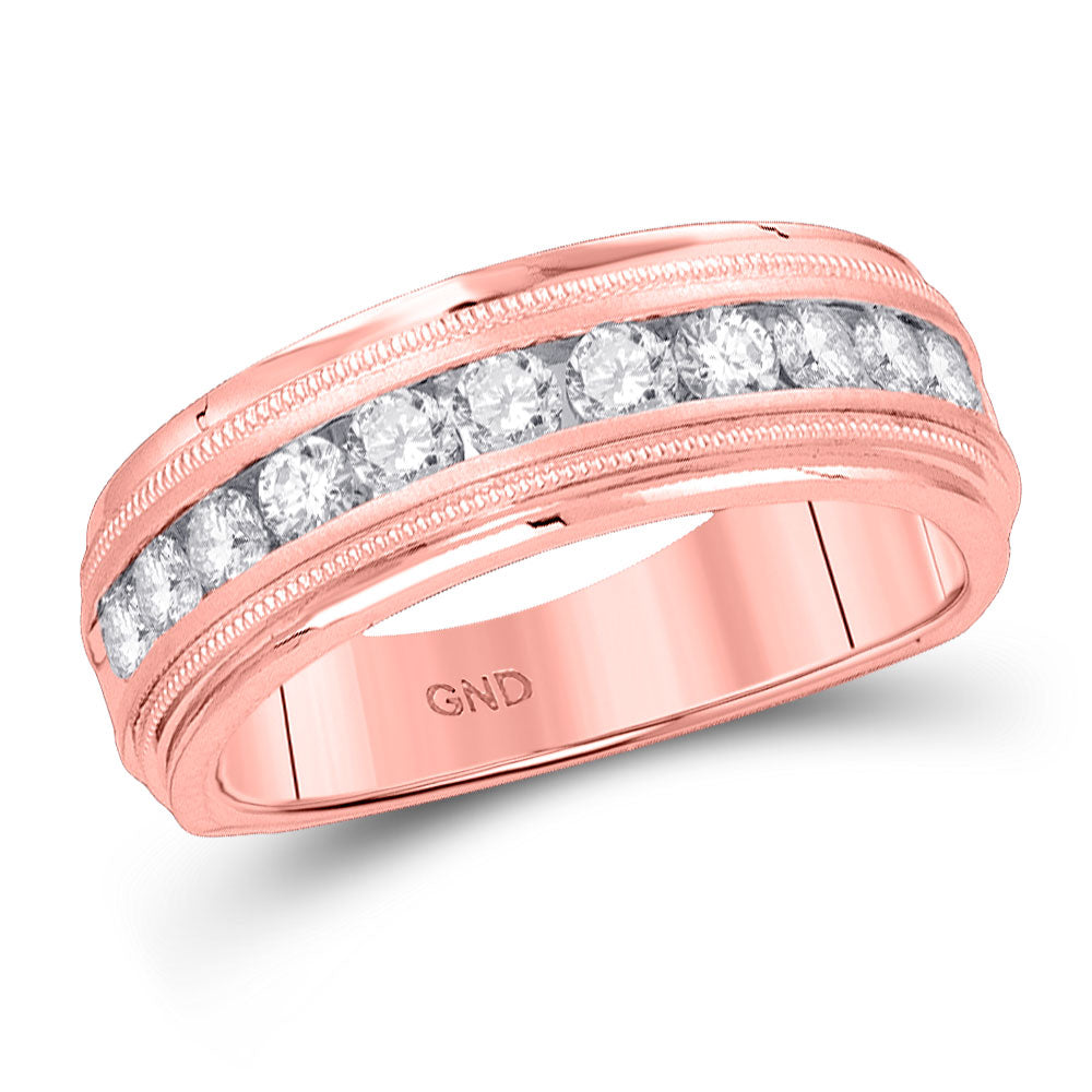 10kt Rose Gold Mens Round Diamond Wedding Single Row Band Ring 1/4 Cttw