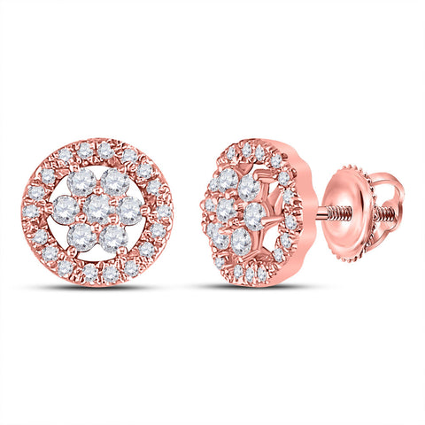 14kt Rose Gold Womens Round Diamond Flower Cluster Earrings 1/2 Cttw