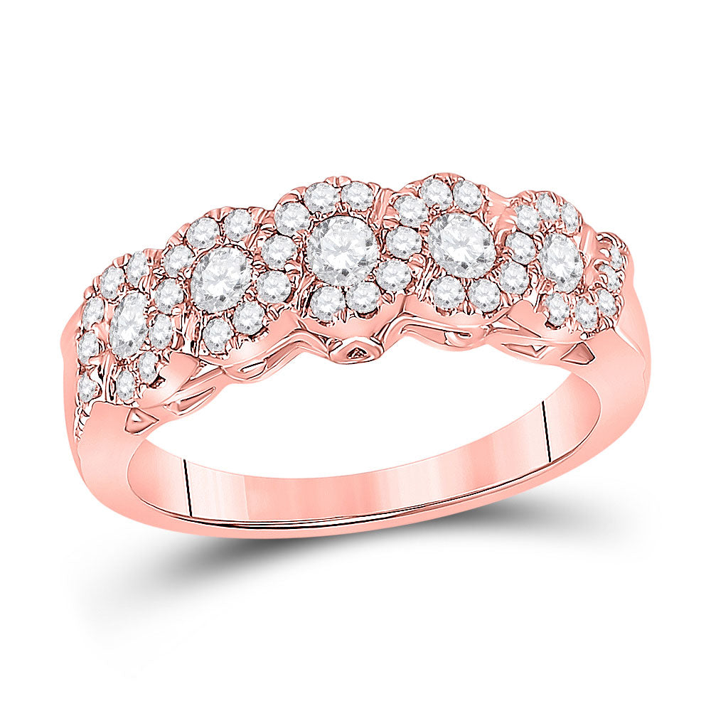 14kt Rose Gold Womens Round Diamond 5-Stone Band Ring 3/4 Cttw