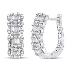 14kt White Gold Womens Baguette Diamond Fashion Hoop Earrings 1-1/5 Cttw