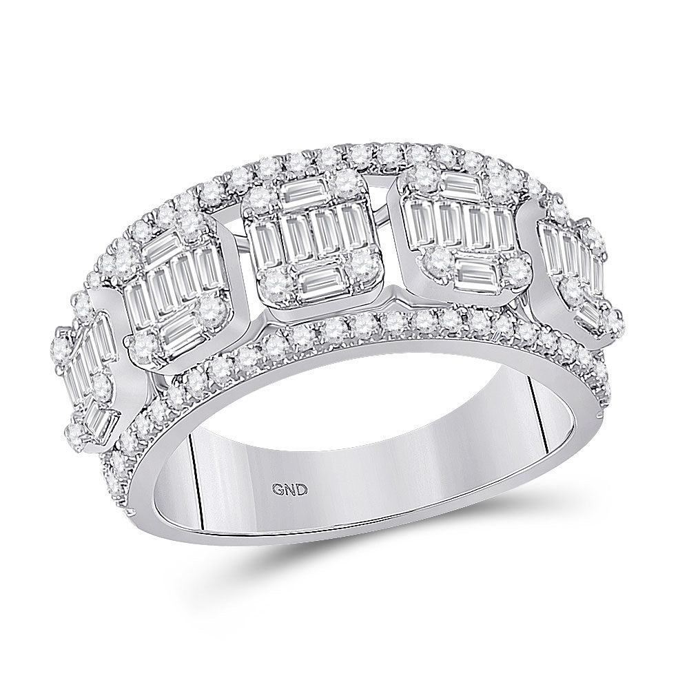 14kt White Gold Womens Baguette Diamond Fashion Band Ring 1-1/4 Cttw