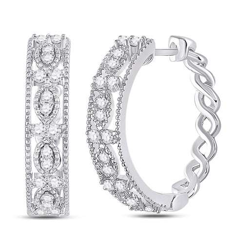14kt White Gold Womens Round Diamond Milgrain Hoop Earrings 1/2 Cttw
