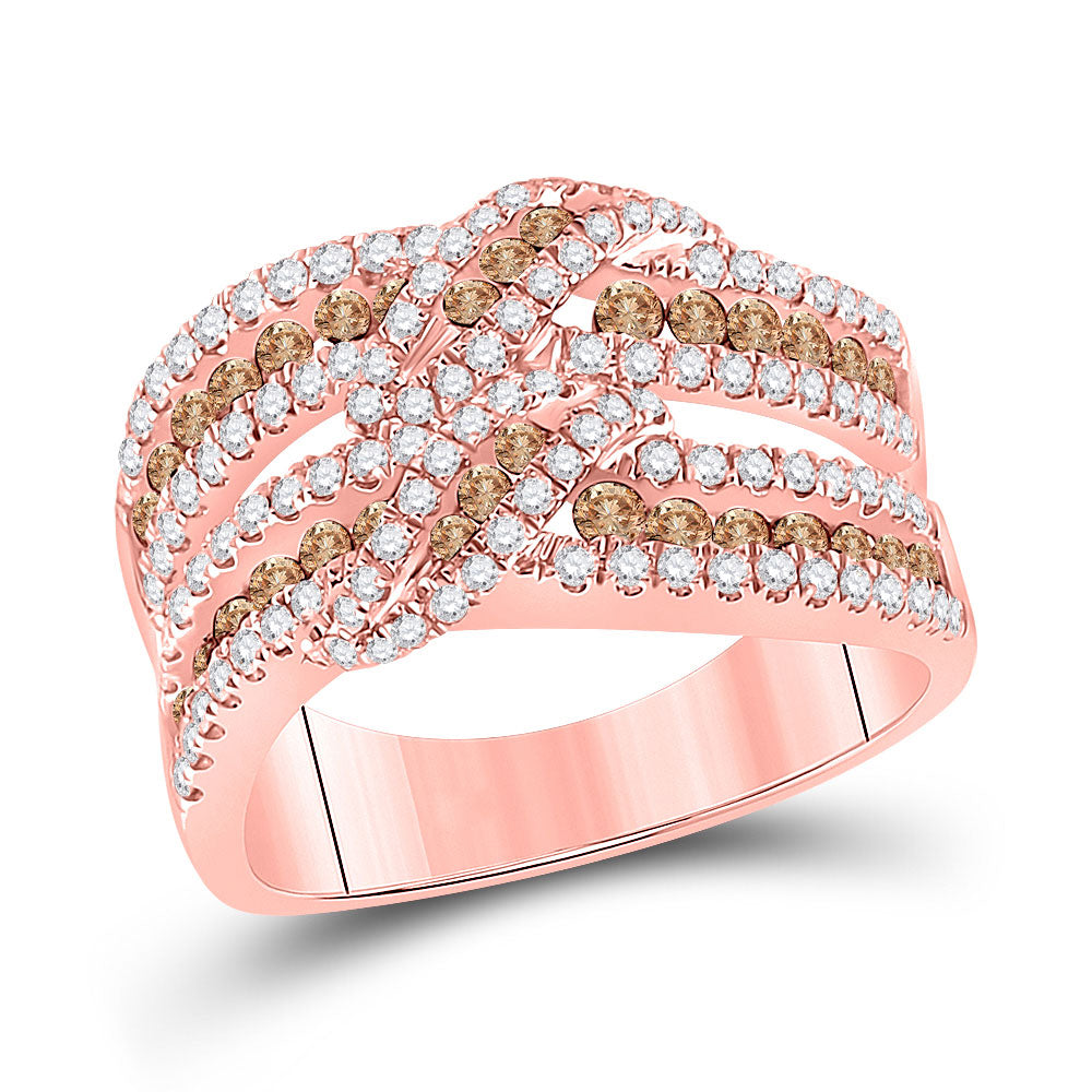 14kt Rose Gold Womens Round Brown Diamond Crossover Band Ring 1-1/3 Cttw