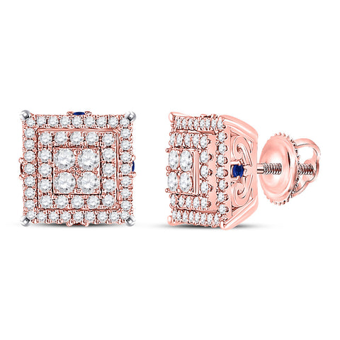 14kt Rose Gold Womens Round Diamond Blue Sapphire Square Earrings 1 Cttw