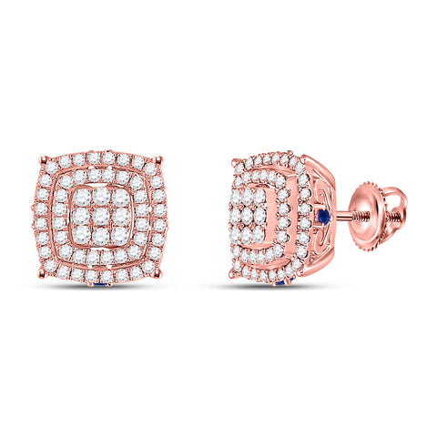 14kt Rose Gold Womens Round Diamond Blue Sapphire Square Earrings 7/8 Cttw