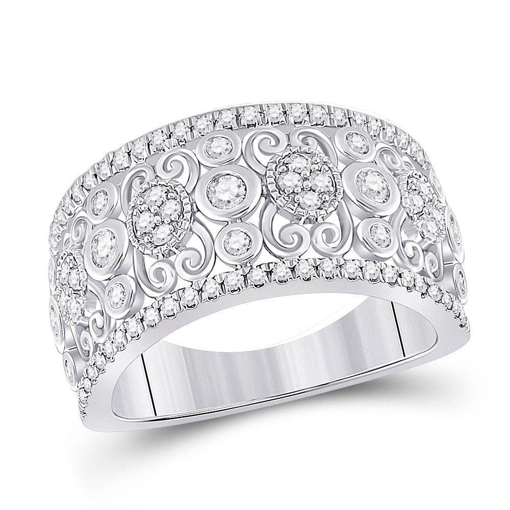 14kt White Gold Womens Round Diamond Scroll Cluster Band Ring 5/8 Cttw