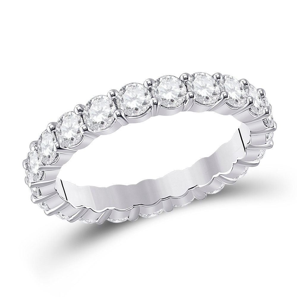 14kt White Gold Womens Round Diamond Classic Eternity Ring 2-1/3 Cttw
