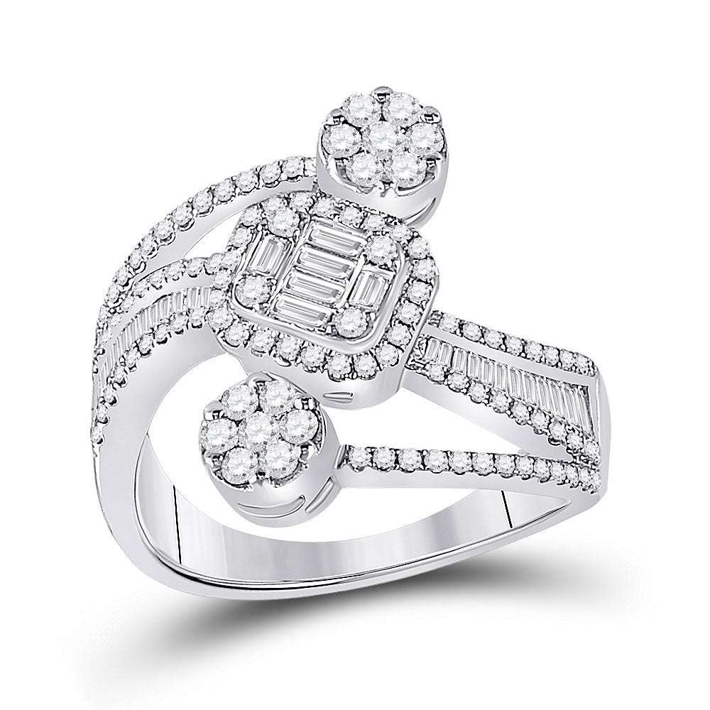 14kt White Gold Womens Baguette Diamond Flower Cluster Ring 1 Cttw