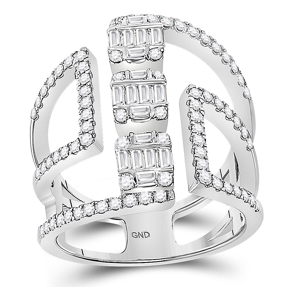 14kt White Gold Womens Baguette Round Diamond Negative Space Band Ring 7/8 Cttw