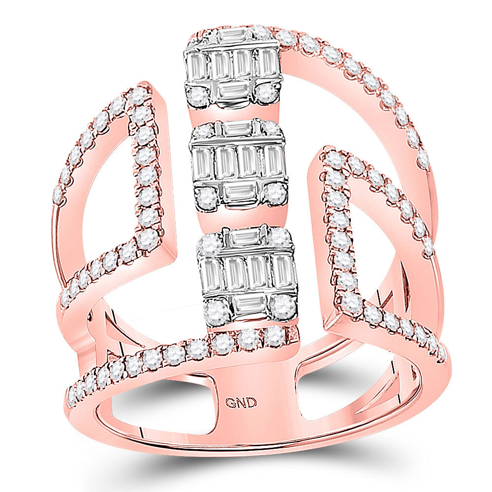 14kt Rose Gold Womens Baguette Diamond Negative Space Band Ring 7/8 Cttw