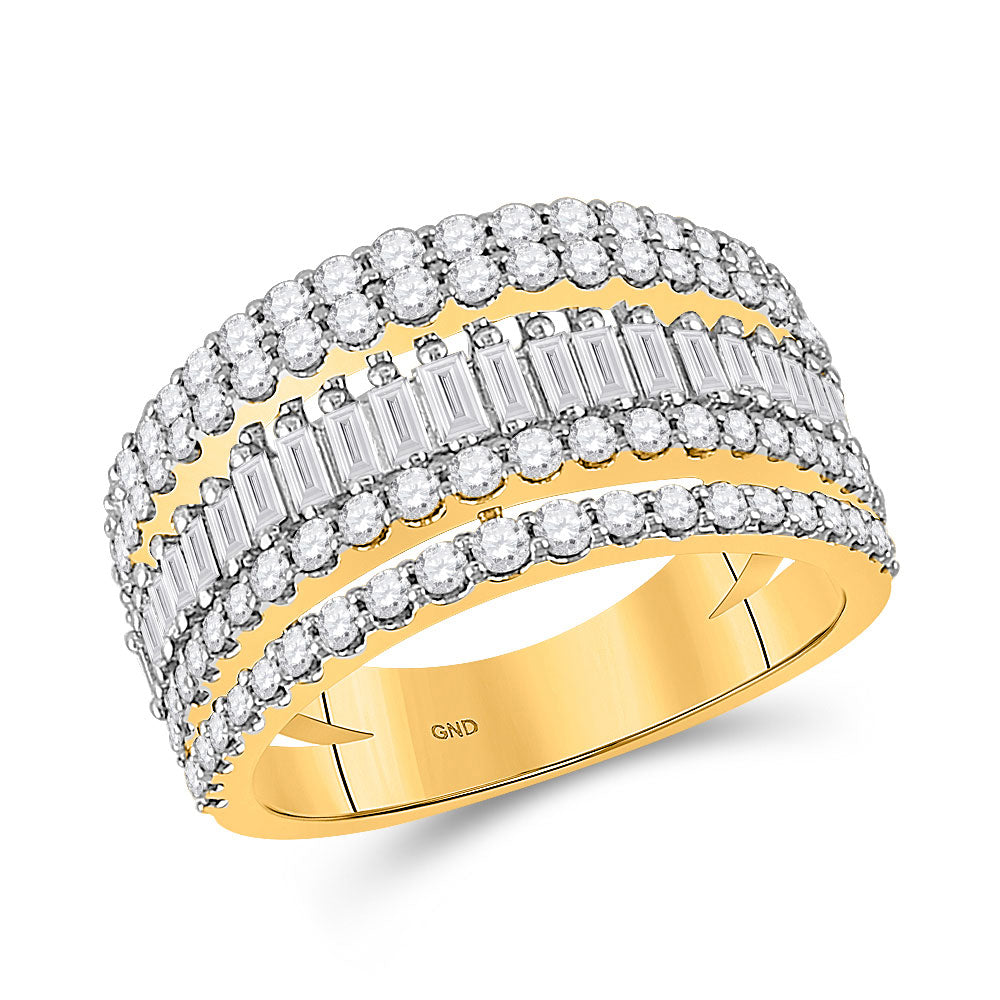 14kt Yellow Gold Womens Baguette Diamond Modern Cocktail Band Ring 1 Cttw