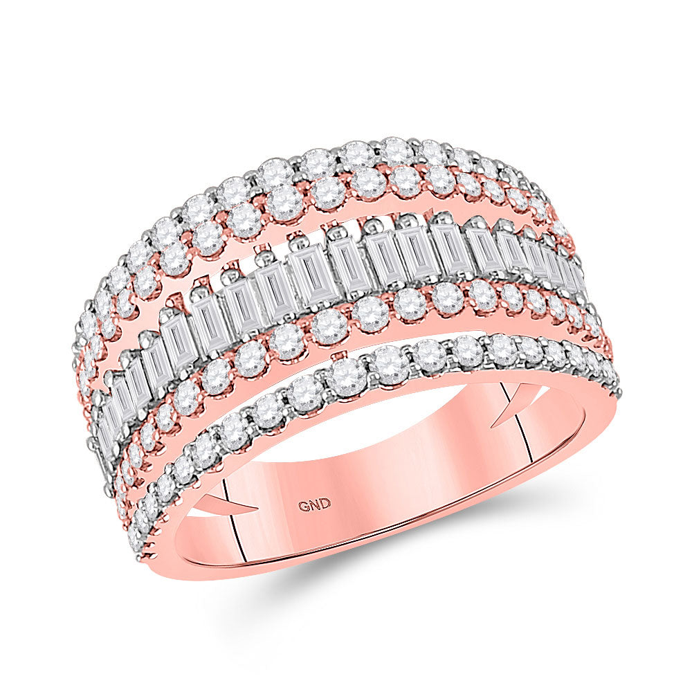 14kt Rose Gold Womens Baguette Diamond Modern Cocktail Band Ring 1 Cttw
