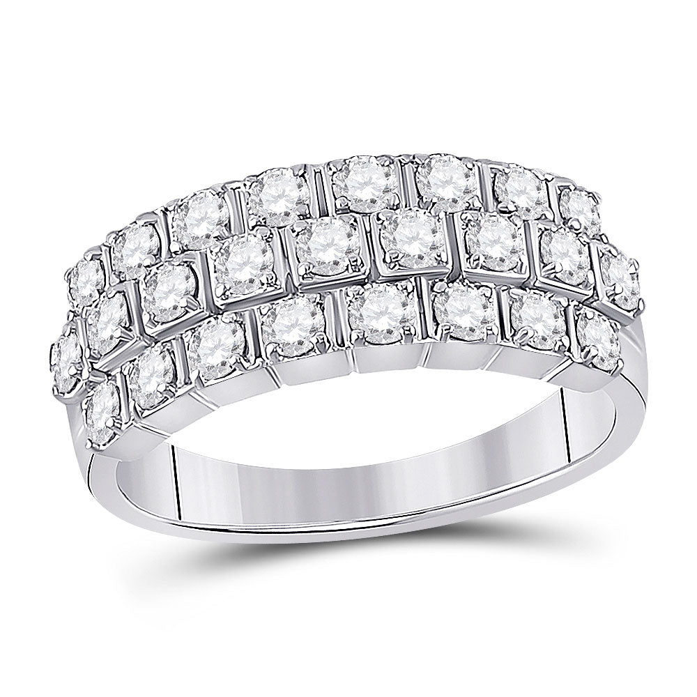 14kt White Gold Womens Round Diamond 3-Row Anniversary Ring 1 Cttw