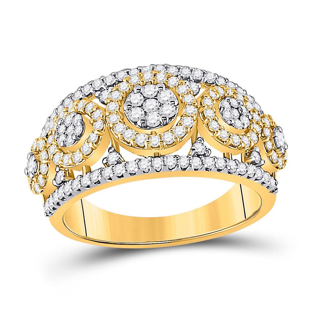 14kt Yellow Gold Womens Round Diamond Cluster Anniversary Ring 1 Cttw
