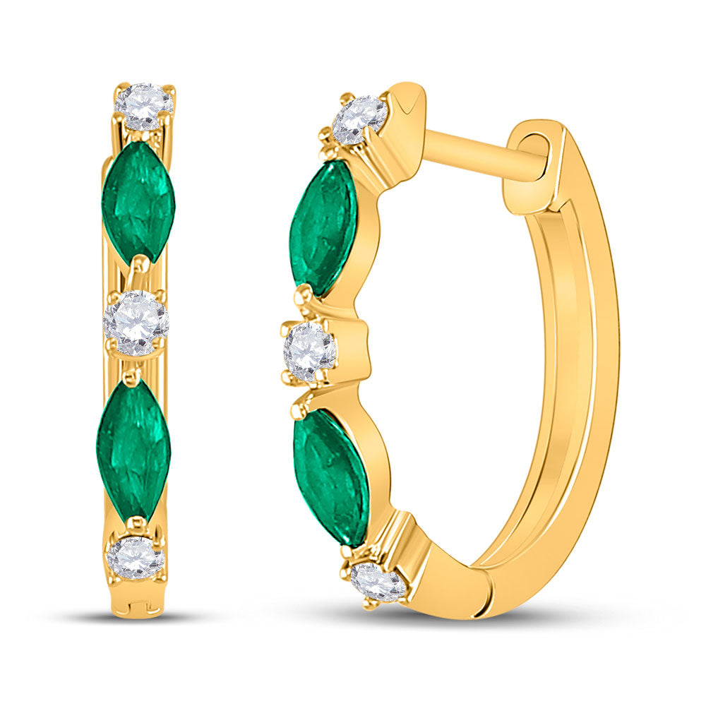 14kt Yellow Gold Womens Marquise Emerald Fashion Diamond Hoop Earrings 3/8 Cttw