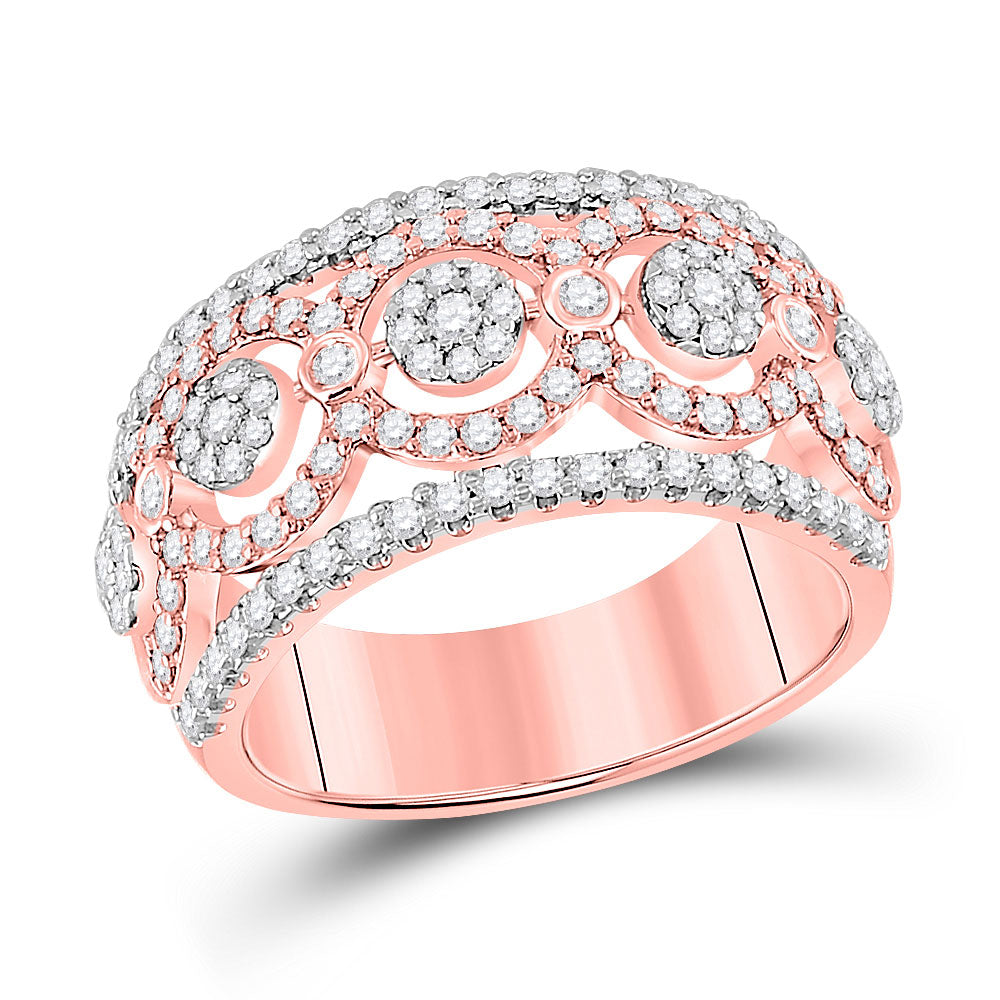 14kt Rose Gold Womens Round Diamond Flower Cluster Band Ring 7/8 Cttw