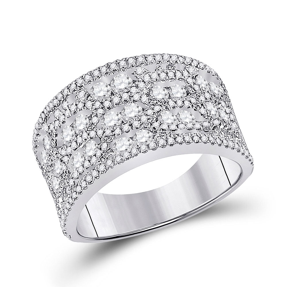 14kt White Gold Womens Round Diamond Right Hand Cocktail Ring 1-3/4 Cttw
