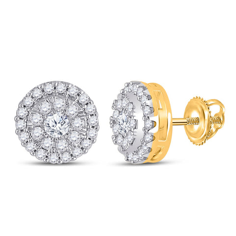 10kt Yellow Gold Womens Round Diamond Halo Earrings 1/2 Cttw
