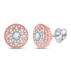 14kt Two-tone Gold Womens Round Diamond Halo Cluster Earrings 1/2 Cttw