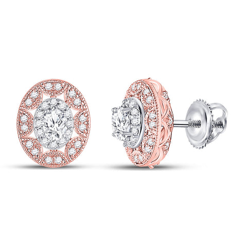 14kt Two-tone Gold Womens Oval Diamond Halo Earrings 1/2 Cttw