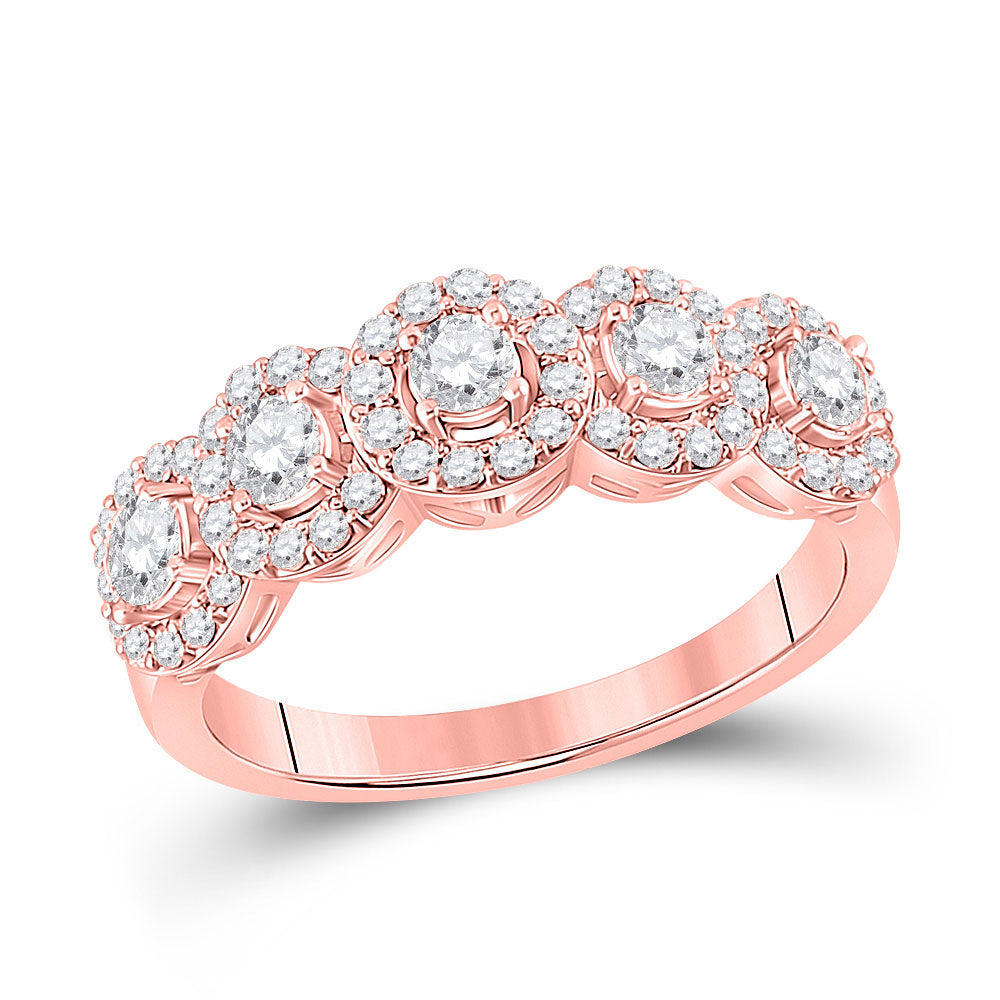 14kt Rose Gold Womens Round Diamond 5-Stone Anniversary Ring 1 Cttw