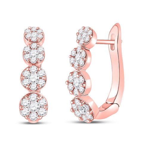 14kt Rose Gold Womens Round Diamond Flower Cluster Hoop Earrings 1-1/4 Cttw