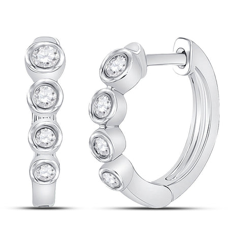 14kt White Gold Womens Round Diamond Fashion Hoop Earrings 1/4 Cttw