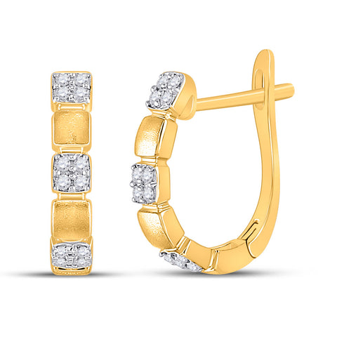 14kt Yellow Gold Womens Round Diamond Hoop Earrings 1/10 Cttw