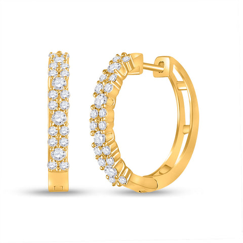 14kt Yellow Gold Womens Round Diamond Hoop Earrings 3/4 Cttw