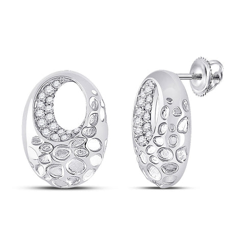 14kt White Gold Womens Round Diamond Pitted Oval Earrings 1/5 Cttw
