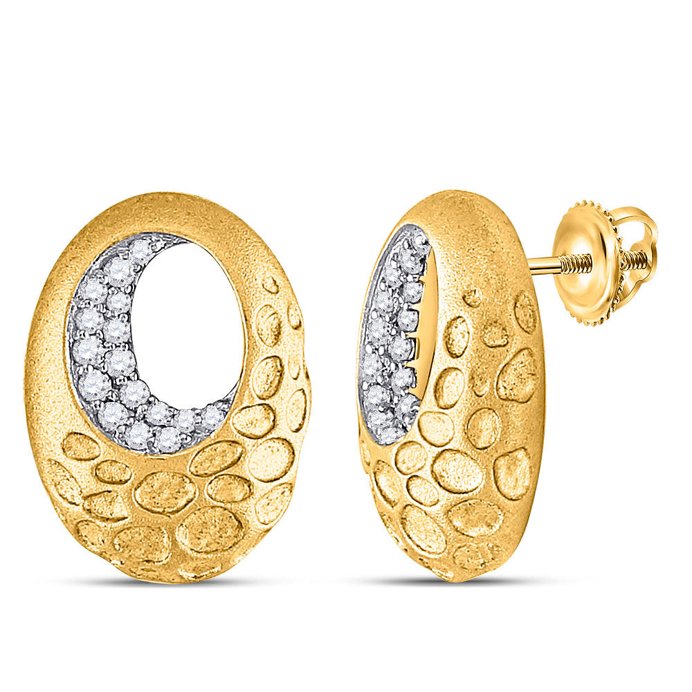 14kt Yellow Gold Womens Round Diamond Pitted Oval Earrings 1/5 Cttw