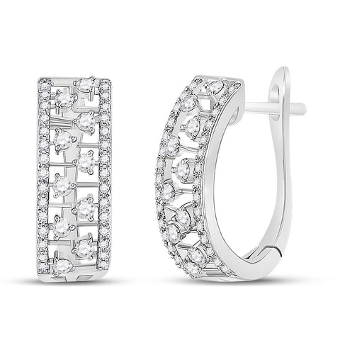 14kt White Gold Womens Round Diamond Oblong Hoop Earrings 3/4 Cttw