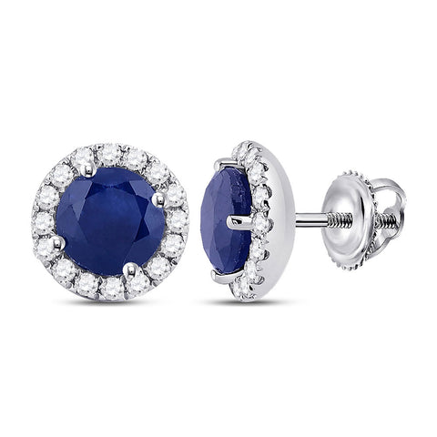 14kt White Gold Womens Round Blue Sapphire Diamond Halo Earrings 1-1/5 Cttw
