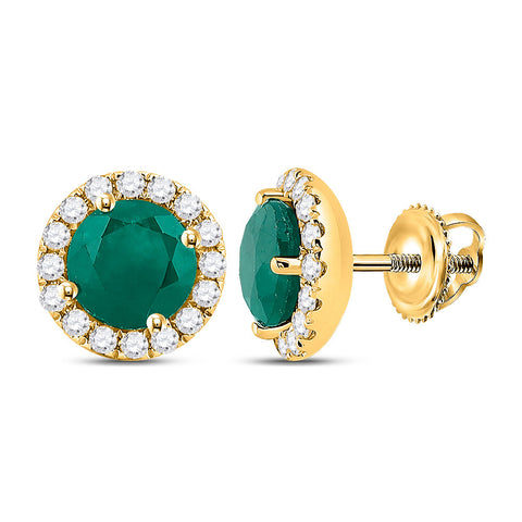 14kt Yellow Gold Womens Round Emerald Diamond Halo Earrings 1-1/5 Cttw
