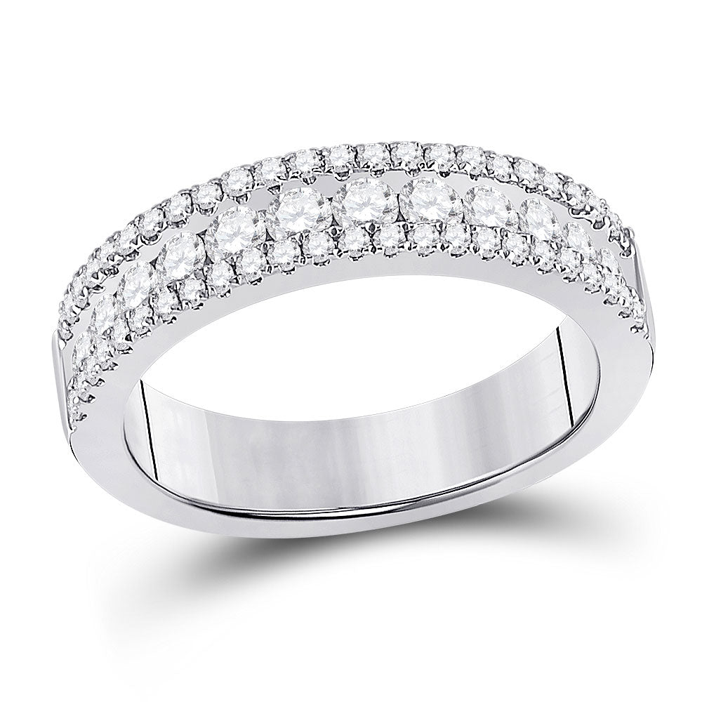 14kt White Gold Womens Round Diamond Band Ring 1 Cttw