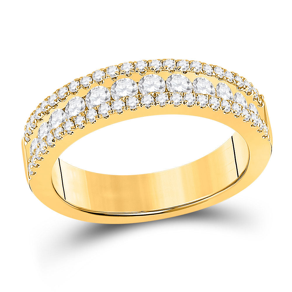 14kt Yellow Gold Womens Round Diamond Band Ring 1 Cttw