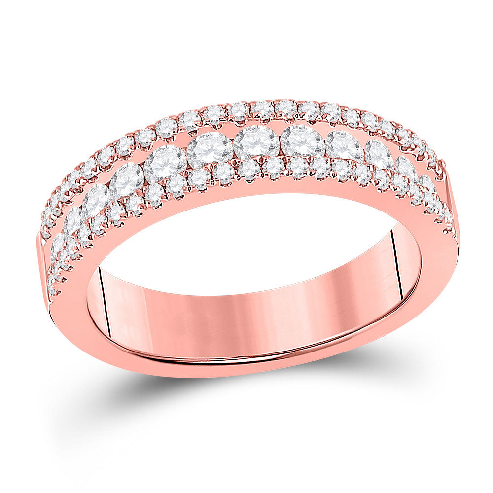 14kt Rose Gold Womens Round Diamond Band Ring 1 Cttw