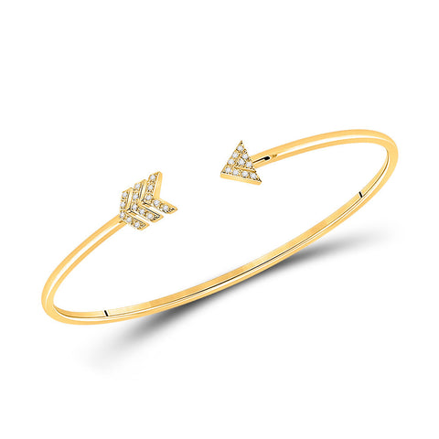 10kt Yellow Gold Womens Round Diamond Arrow Bangle Bracelet 1/10 Cttw