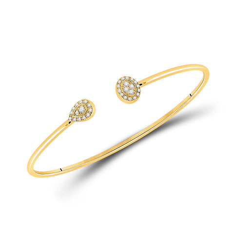 10kt Yellow Gold Womens Round Diamond Cluster Bangle Bracelet 1/5 Cttw